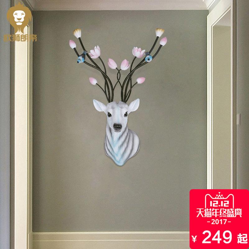 创意鹿头壁挂欧式家居玄关电视背景墙挂饰服装店会所墙面装饰品