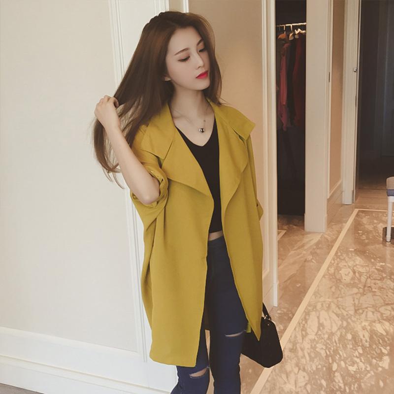 风衣女中长款韩版秋季2018新款薄款宽松显瘦百搭小个子外套外衣
