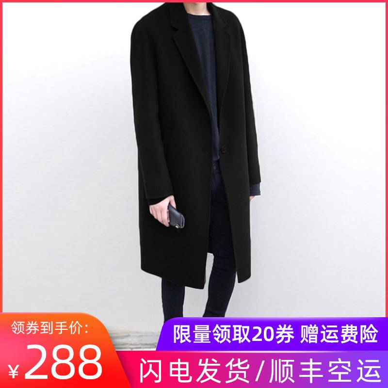 2019冬季韩版双面羊绒呢子大衣男中长款英伦风衣毛呢外套加厚过膝