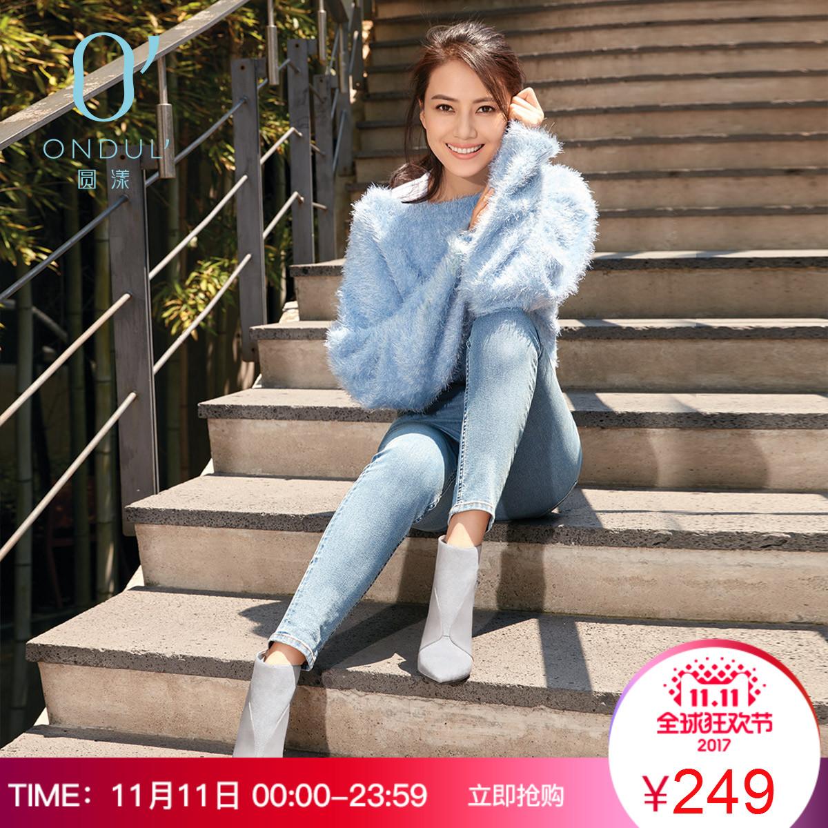 ONDUL/圆漾欧美绒面薄款拼接尖头性感高跟鞋及踝靴短靴女冬靴
