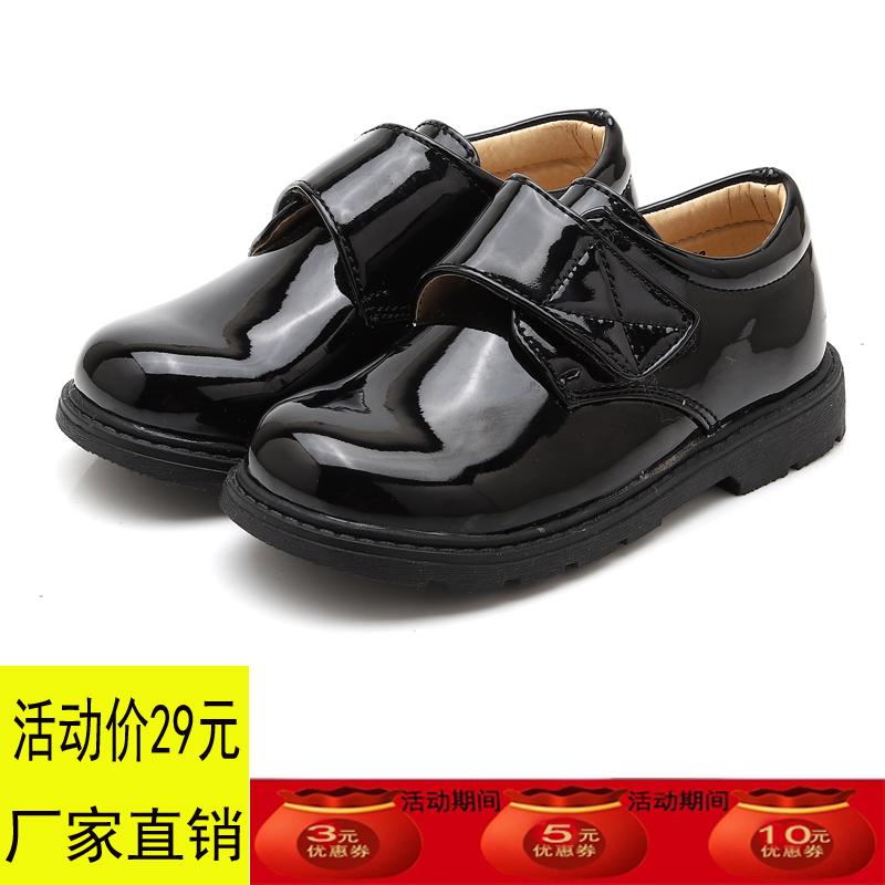 男童皮鞋新款中大童黑色亮面英伦2019春季新款学生演出小男儿单鞋