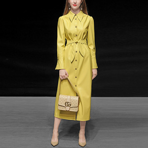 Autumn and winter women's 2019 new yellow slim mid-length leather windbreaker waist was thin PU leather coat jacket