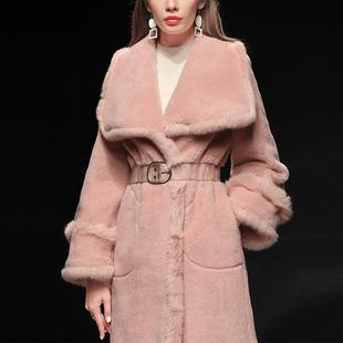 冬季女装2020新款粉色羊剪绒羊羔毛皮草潮毛毛中长款貂皮大衣图片