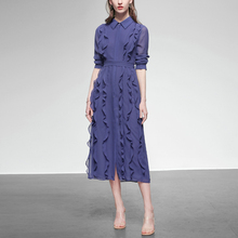 秋装2021新款女ww6荷叶边雪ou气质衬衫长袖中长款连衣裙