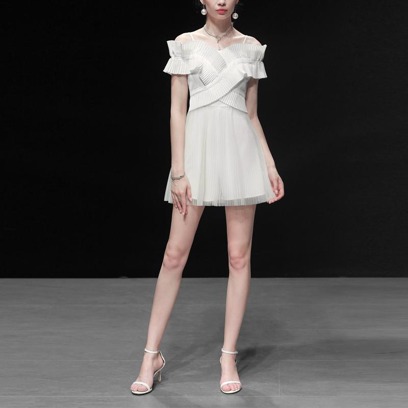夏装2019新款女装白色高腰连体裤吊带连衣裤休闲裤网纱短裤裤子潮