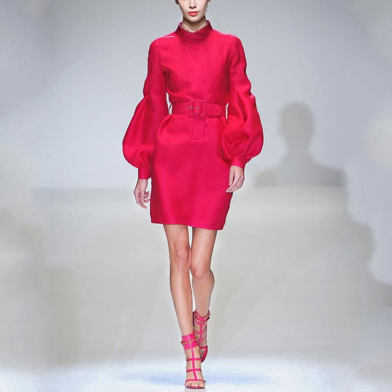 春装女装2019新款气质复古衬衫修身裙子OL长袖中长款打底裙连衣裙