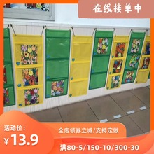 新品牛津纺A4幼儿园作品收纳挂袋绘mo14图书宝ng展示透明袋