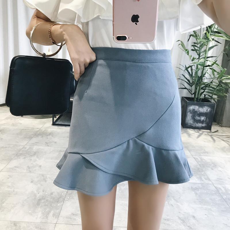 不规则鱼尾半身裙女包臀裙2019春装新款高腰裙裙子chic短裙鱼尾裙