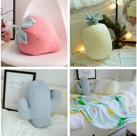 【1件包邮】软绵绵草莓 仙人掌 抱枕 家居靠垫 抱枕 空调毯二合一