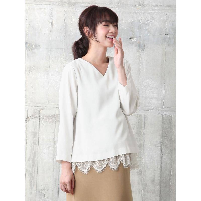 ANGELIEBE日本直供孕妇拼接蕾丝V领长袖哺乳上衣时尚打底衫22286
