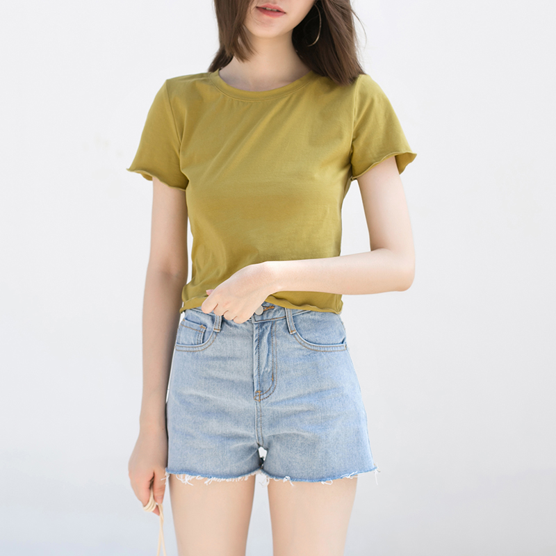 哈果八周年庆 波浪边修身上衣 纯色短袖短款T恤女圆领休闲