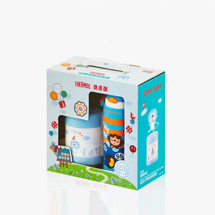 膳魔师儿童保温杯小孩吸管杯宝宝焖烧杯礼盒套装FFI-403L+F3003L