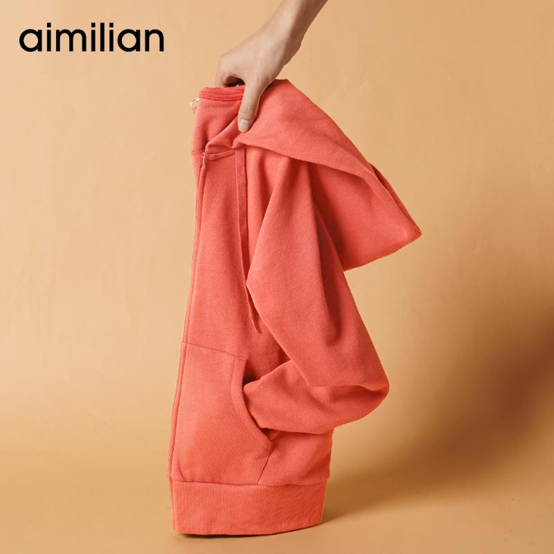艾米恋运动卫衣女连帽秋冬季2020年新款拉链开衫休闲上衣纯棉外套