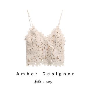 Amber泫雅同款吊带背心性感气质蕾丝镂空白色树叶吊带背心ins女图片