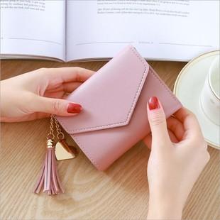 新款时尚小钱包女短款日韩版可爱小清新流苏迷你学生女士钱包钱夹图片