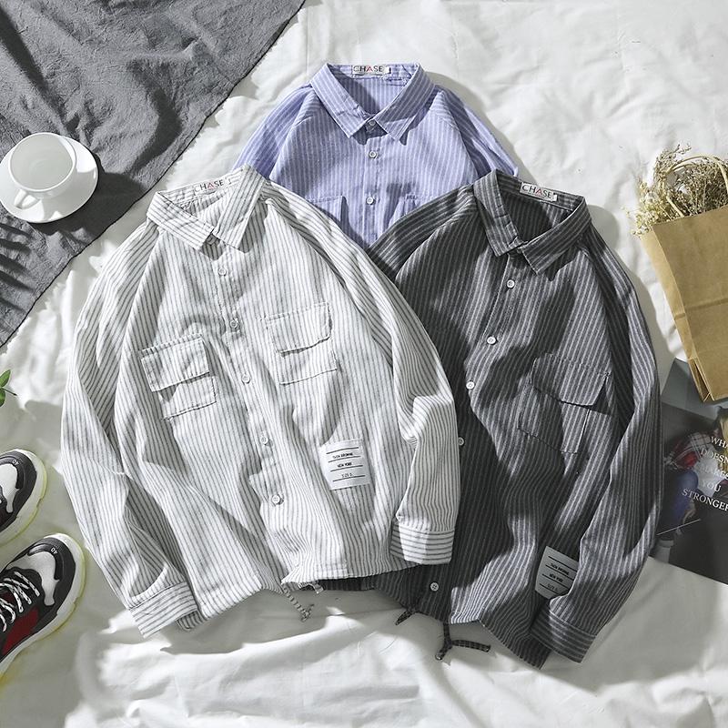 秋冬季韩版男士长袖条纹衬衫港风宽松衣服百搭休闲潮流衬衣外套男