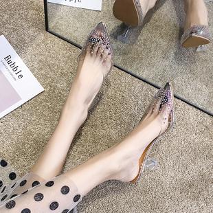 两穿性感法式小高跟鞋2020年新款细跟水晶鞋凉鞋女凉拖鞋子仙女风图片