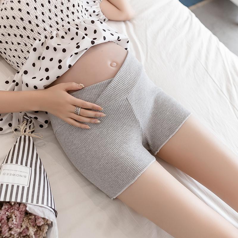 实拍螺纹95棉三分低腰打底裤孕妇裤安全裤.1906 -