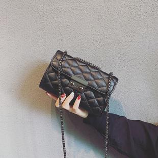 包包女2018新款潮韩版简约百搭时尚迷你斜挎小包小香风菱格链条包