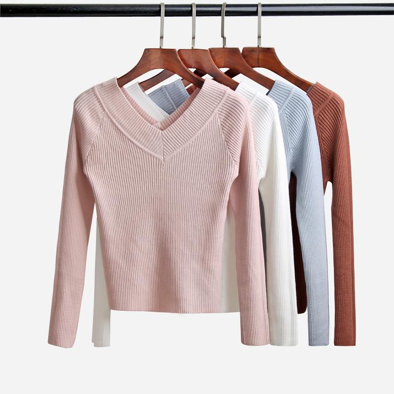 韩版秋冬新款露背V领长袖针织衫女短款修身显瘦打底衫套头毛衣