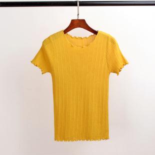 2017夏季新款最潮韩国百搭纯色修身圆领冰丝针织衫短袖打底t恤上衣女