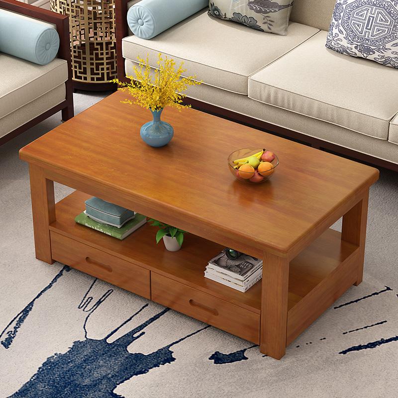 北欧风茶几简约实木现代客厅小户型双层带抽屉储物方形小茶几茶桌