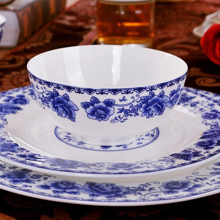 景德镇青花瓷餐具套装陶瓷碗盘56头骨瓷碗碟套装家用中式高档乔迁-景德镇琴琴陶瓷餐具-12月