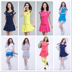 品牌折扣夏季女装两件套羽毛球服网球服运动套装短袖广场舞裤裙女图片
