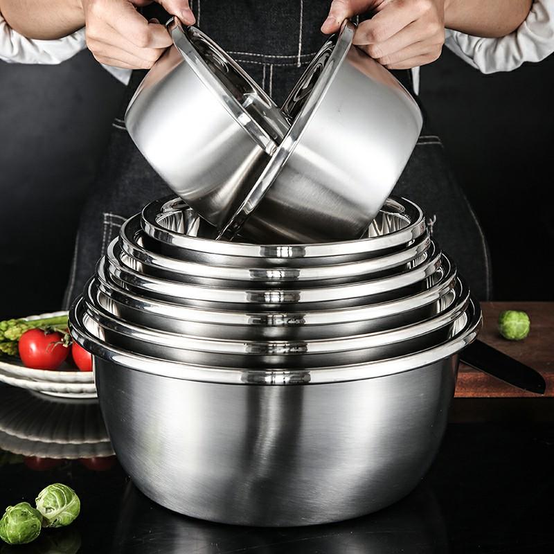 食品级加厚不锈钢盆打蛋小钢盆家用和面厨房洗菜大盆汤盆火锅盆子