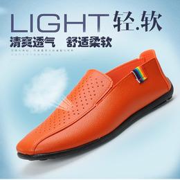 四季新款豆豆鞋镂空皮鞋男鞋韩版一脚蹬懒人鞋春夏透气英伦休闲鞋