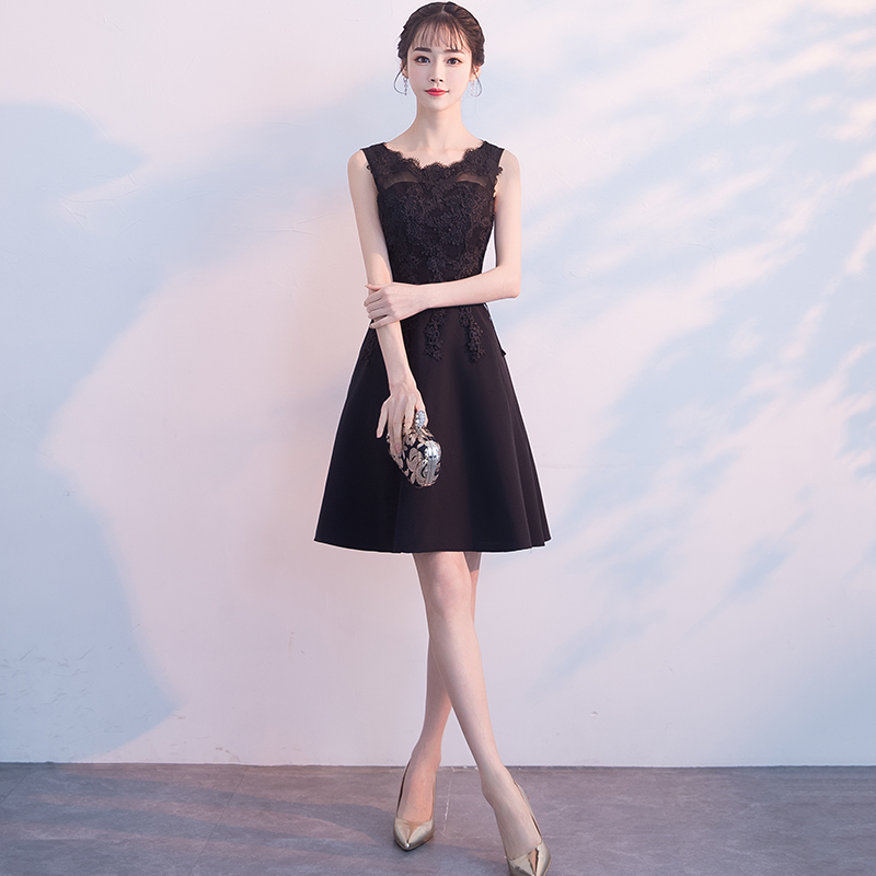 黑色小晚礼服裙女2019新款春宴会聚会生日派对连衣裙短款显瘦学生