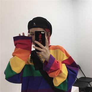 YANS2020秋季新款INS同款原宿风复古彩虹宽松条纹长袖T恤男女款潮图片