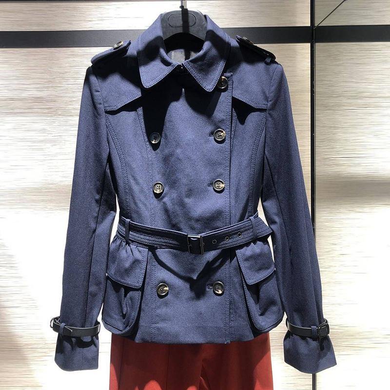 希哥弟思�q2020秋装新款系带双排扣短款风衣外套女小个子收腰上衣