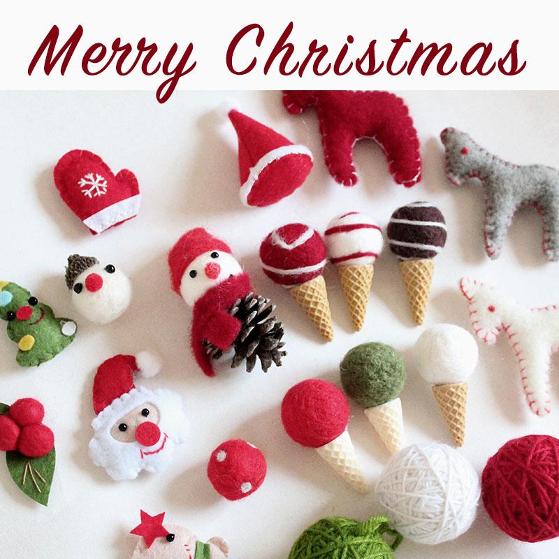 圣诞树圣诞花环花束设计可爱配件集合