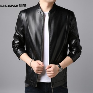 Leather men's top layer leather men's shirt 2019 autumn new motorcycle jacket thin section Lilang jacket