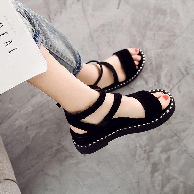 2019新款韩版夏季一字扣平底罗马坡跟凉鞋学生凉鞋女厚底凉鞋松糕