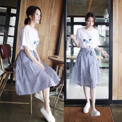 夏季连衣裙女2017新款小清新A字裙子韩版时尚学生两件套装中长款