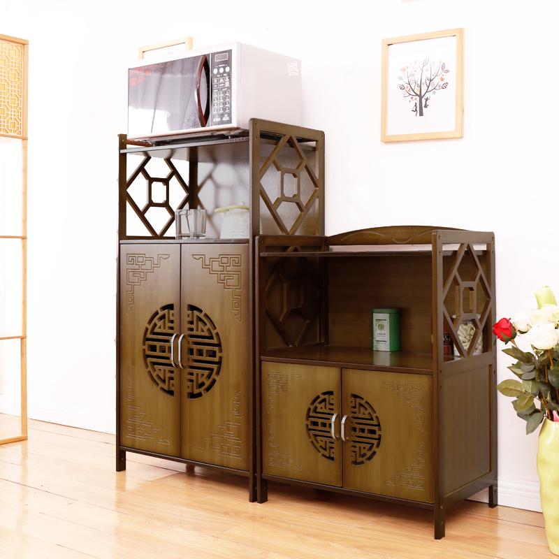 楠竹厨房置物架烤箱架微波炉架餐边柜实木客厅多层茶水架储物柜子