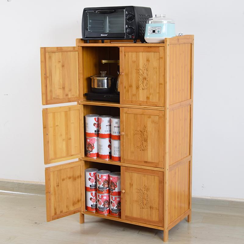 楠竹餐边柜餐厅茶水柜客厅厨房置物架实木多层收纳碗橱柜储物柜子