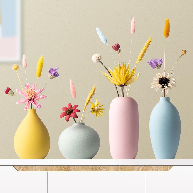 北欧马卡龙创意陶瓷小花瓶摆件家居客厅插花干花装饰工艺品摆设