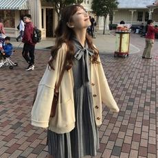 韩版初秋洋气套装女气质复古千鸟格百褶长袖连衣裙针织外套两件套