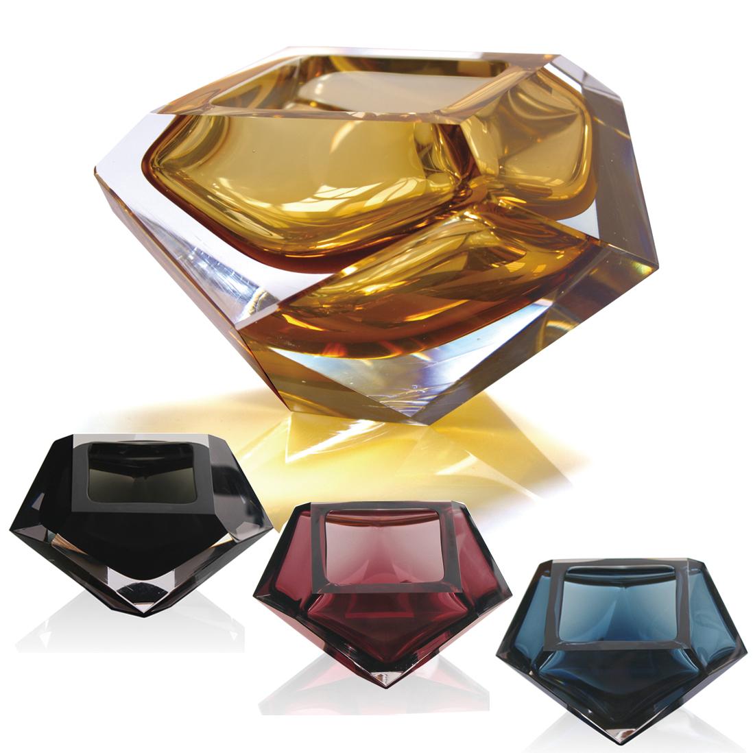 钻石形个性礼品烟灰缸创意时尚高雅水晶玻璃烟缸客厅生日礼物品男