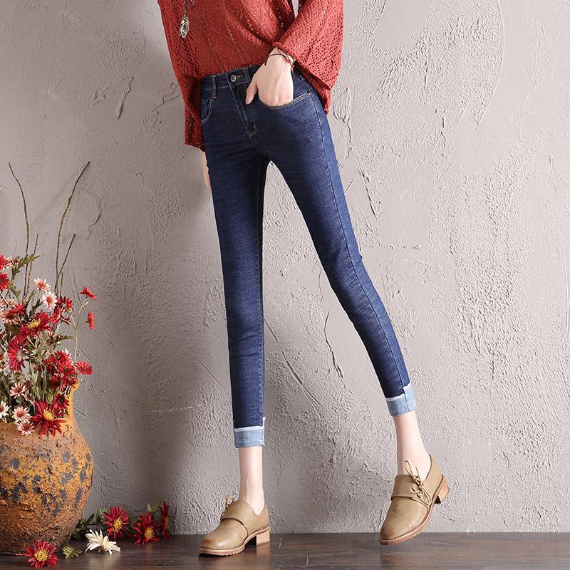 慕妮莎2017新款秋季韩版小脚九分修身牛仔铅笔弹力裤中高腰显瘦女