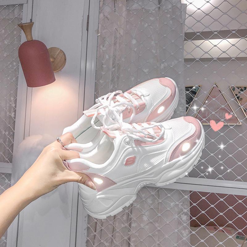 点击查看商品:新款樱花仙女粉运动老爹鞋女2020ins夏季百搭反光透气超火女鞋