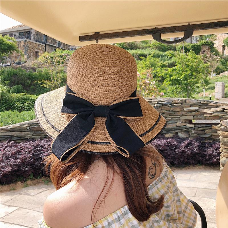 草帽女夏天百搭遮阳帽防晒帽太阳帽出游度假海边大沿帽可折叠凉帽
