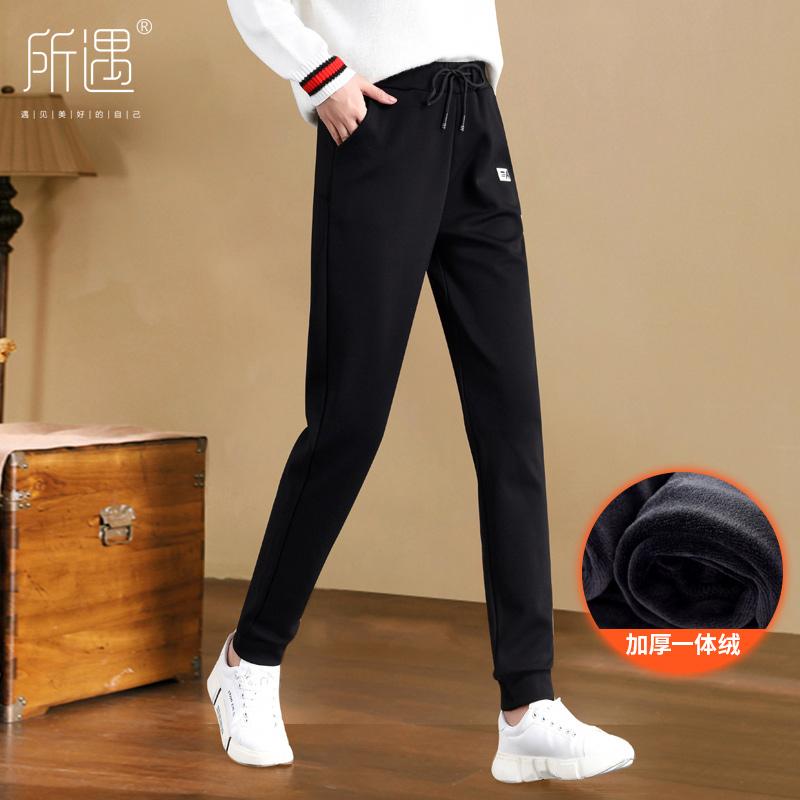秋冬加绒加长运动裤女高个子版大码外穿学生长裤休闲宽松加厚超长