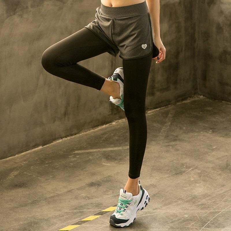 大码夏季假两件运动裤胖MM200斤速干跑步健身服女宽松瑜伽裤长裤