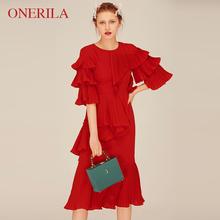 红色结婚订婚敬fc4服宴会(小)dm女平时可穿气质雪纺连衣裙秋冬