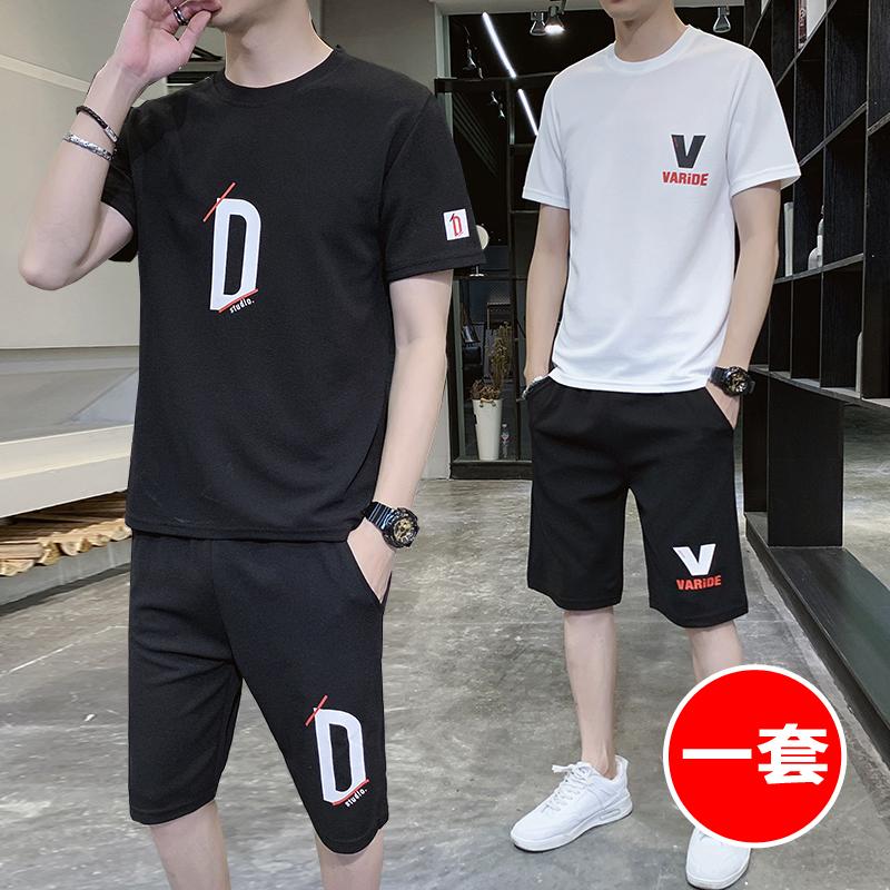太平公鸡2020夏季韩版潮牌情侣休闲运动套装男士百搭上衣修身短裤