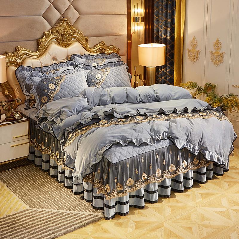 水晶绒夹棉床裙式四件套冬保暖加厚珊瑚绒床罩床套绒被套床上用品